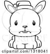 Animal Lineart Clipart Of A Cartoon Black And White Cute Mad Christmas Rabbit Wearing A Sant Hat Royalty Free Outline Vector Illustration