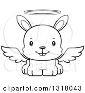 Animal Lineart Clipart Of A Cartoon Black And White Cute Happy Rabbit Angel Royalty Free Outline Vector Illustration