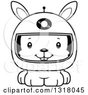 Animal Lineart Clipart Of A Cartoon Black And White Cute Happy Rabbit Astronaut Royalty Free Outline Vector Illustration