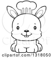 Animal Lineart Clipart Of A Cartoon Black And White Cute Happy Rabbit Chef Royalty Free Outline Vector Illustration