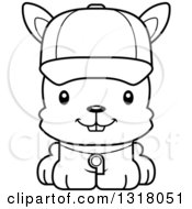 Animal Lineart Clipart Of A Cartoon Black And White Cute Happy Rabbit Coach Royalty Free Outline Vector Illustration