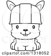 Cartoon Black And White Cute Happy Rabbit Construction Worker