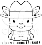 Animal Lineart Clipart Of A Cartoon Black And White Cute Happy Rabbit Cowboy Royalty Free Outline Vector Illustration