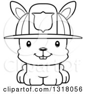 Animal Lineart Clipart Of A Cartoon Black And White Cute Happy Rabbit Fireman Royalty Free Outline Vector Illustration