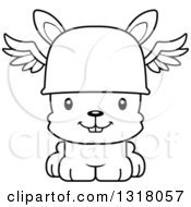 Animal Lineart Clipart Of A Cartoon Black And White Cute Happy Rabbit Hermes Royalty Free Outline Vector Illustration