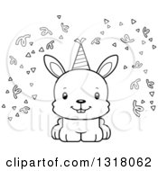 Animal Lineart Clipart Of A Cartoon Black And White Cute Happy Party Rabbit Royalty Free Outline Vector Illustration