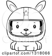 Animal Lineart Clipart Of A Cartoon Black And White Cute Happy Rabbit Race Car Driver Royalty Free Outline Vector Illustration