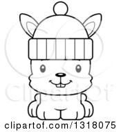 Animal Lineart Clipart Of A Cartoon Black And White Cute Happy Rabbit Wearing A Winter Hat Royalty Free Outline Vector Illustration