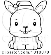 Animal Lineart Clipart Of A Cartoon Black And White Cute Happy Christmas Rabbit Wearing A Sant Hat Royalty Free Outline Vector Illustration