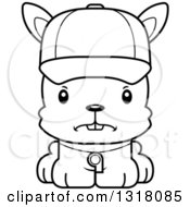 Animal Lineart Clipart Of A Cartoon Black And White Cute Mad Rabbit Coach Royalty Free Outline Vector Illustration