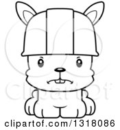 Cartoon Black And White Cute Mad Rabbit Construction Worker