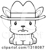 Animal Lineart Clipart Of A Cartoon Black And White Cute Mad Rabbit Cowboy Royalty Free Outline Vector Illustration by Cory Thoman