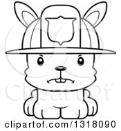 Animal Lineart Clipart Of A Cartoon Black And White Cute Mad Rabbit Fireman Royalty Free Outline Vector Illustration