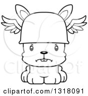 Animal Lineart Clipart Of A Cartoon Black And White Cute Mad Rabbit Hermes Royalty Free Outline Vector Illustration