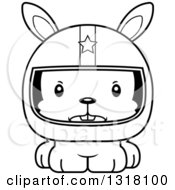 Animal Lineart Clipart Of A Cartoon Black And White Cute Mad Rabbit Race Car Driver Royalty Free Outline Vector Illustration