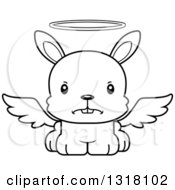 Animal Lineart Clipart Of A Cartoon Black And White Cute Mad Rabbit Angel Royalty Free Outline Vector Illustration