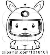 Animal Lineart Clipart Of A Cartoon Black And White Cute Mad Rabbit Astronaut Royalty Free Outline Vector Illustration