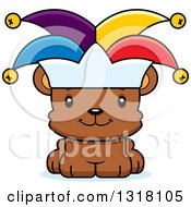 Animal Clipart Of A Cartoon Cute Happy Bear Cub Jester Royalty Free Vector Illustration