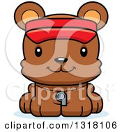 Animal Clipart Of A Cartoon Cute Happy Bear Cub Lifeguard Royalty Free Vector Illustration
