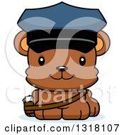 Animal Clipart Of A Cartoon Cute Happy Bear Cub Mail Man Royalty Free Vector Illustration