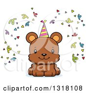 Animal Clipart Of A Cartoon Cute Happy Bear Cub With Party Confetti And A Hat Royalty Free Vector Illustration