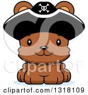 Animal Clipart Of A Cartoon Cute Happy Bear Cub Pirate Royalty Free Vector Illustration