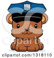 Animal Clipart Of A Cartoon Cute Happy Bear Cub Police Officer Royalty Free Vector Illustration
