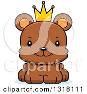 Animal Clipart Of A Cartoon Cute Happy Bear Cub Prince Royalty Free Vector Illustration