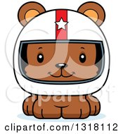 Animal Clipart Of A Cartoon Cute Happy Bear Cub Car Racer Royalty Free Vector Illustration