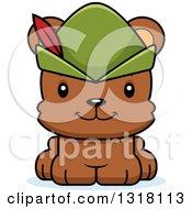 Animal Clipart Of A Cartoon Cute Happy Bear Cub Robin Hood Royalty Free Vector Illustration