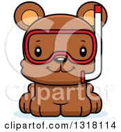 Animal Clipart Of A Cartoon Cute Happy Bear Cub Wearing Snorkel Gear Royalty Free Vector Illustration
