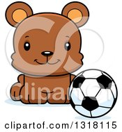 Animal Clipart Of A Cartoon Cute Happy Bear Cub Sitting With A Soccer Ball Royalty Free Vector Illustration by Cory Thoman