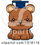 Animal Clipart Of A Cartoon Cute Happy Bear Cub Professor Royalty Free Vector Illustration