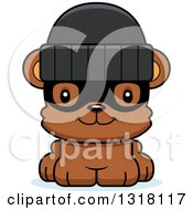 Animal Clipart Of A Cartoon Cute Happy Bear Cub Robber Royalty Free Vector Illustration