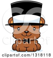 Animal Clipart Of A Cartoon Cute Happy Bear Cub Gentleman Wearing A Top Hat Royalty Free Vector Illustration