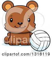 Animal Clipart Of A Cartoon Cute Happy Bear Cub Sitting With A Volleyball Royalty Free Vector Illustration