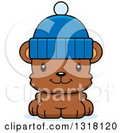 Animal Clipart Of A Cartoon Cute Happy Bear Cub Wearing A Winter Cap Royalty Free Vector Illustration