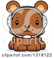Animal Clipart Of A Cartoon Cute Happy Bear Cub Wrestler Royalty Free Vector Illustration