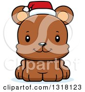Animal Clipart Of A Cartoon Cute Happy Christmas Bear Cub Royalty Free Vector Illustration