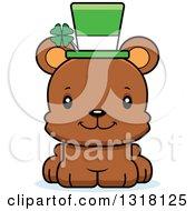 Animal Clipart Of A Cartoon Cute Happy Irish St Patricks Day Bear Cub Royalty Free Vector Illustration