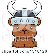 Animal Clipart Of A Cartoon Cute Happy Bear Cub Viking Royalty Free Vector Illustration