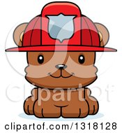 Animal Clipart Of A Cartoon Cute Happy Bear Cub Fire Fighter Royalty Free Vector Illustration