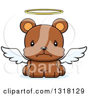 Animal Clipart Of A Cartoon Cute Mad Bear Cub Angel Royalty Free Vector Illustration
