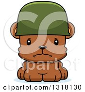 Animal Clipart Of A Cartoon Cute Mad Army Soldier Bear Cub Wearing A Helmet Royalty Free Vector Illustration