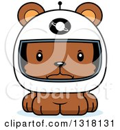 Animal Clipart Of A Cartoon Cute Mad Bear Cub Astronaut Royalty Free Vector Illustration