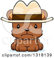 Animal Clipart Of A Cartoon Cute Mad Bear Cub Wearing A Cowboy Hat Royalty Free Vector Illustration
