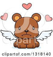 Animal Clipart Of A Cartoon Cute Mad Bear Cub Cupid Royalty Free Vector Illustration
