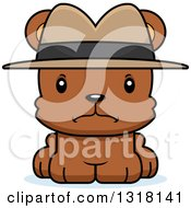 Animal Clipart Of A Cartoon Cute Mad Bear Cub Detective Royalty Free Vector Illustration