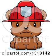 Animal Clipart Of A Cartoon Cute Mad Bear Cub Fire Fighter Royalty Free Vector Illustration