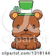 Animal Clipart Of A Cartoon Cute Mad Irish St Patricks Day Bear Cub Royalty Free Vector Illustration